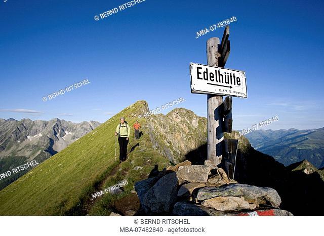 Hiker on the summit ridge of the Aschaffenburger Höhenweg, Zillertal Alps, Tyrol, Austria