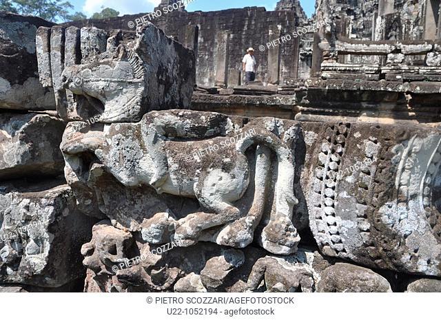 Angkor (Cambodia): ruins with relieves at the Bayon