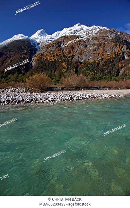 The Isar with big Ahrnspitze, Mittenwald, Bavaria, Germany