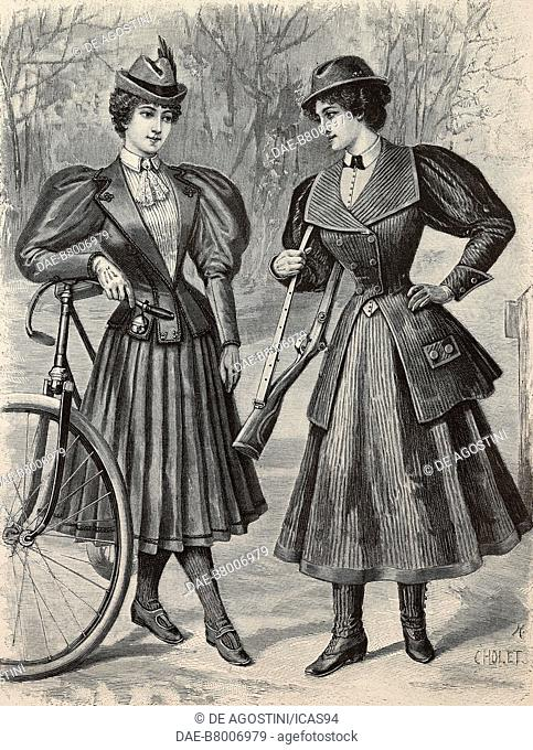 Women wearing a cycling outfit and a hunting-sport outfit, creations by the Magasins du Louvre, engraving from La Mode Illustree, n 3, January 19, 1896, Paris