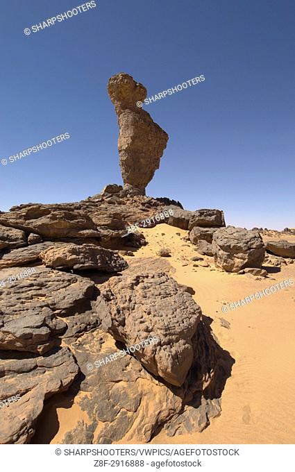 Rock formation called The Finger of Allah, Akakus, Sahara desert, Fezzan, Libya