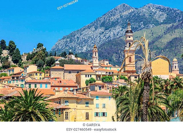 Riviera town Menton view with mountain and church