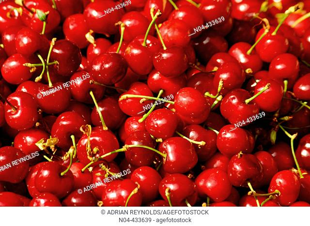 Cherries in Rue Mouffetard. Paris, France
