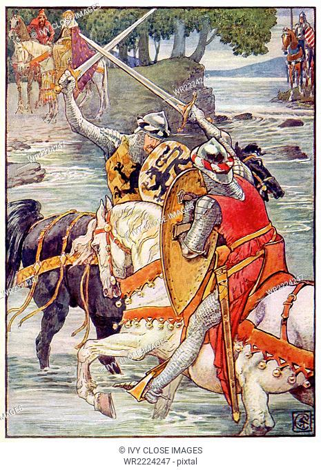 This 1911 illustration by Walter Crane shows Arthur's Round Table knight Beaumains (Sir Gareth) winning the fight against the Green Knight at the ford