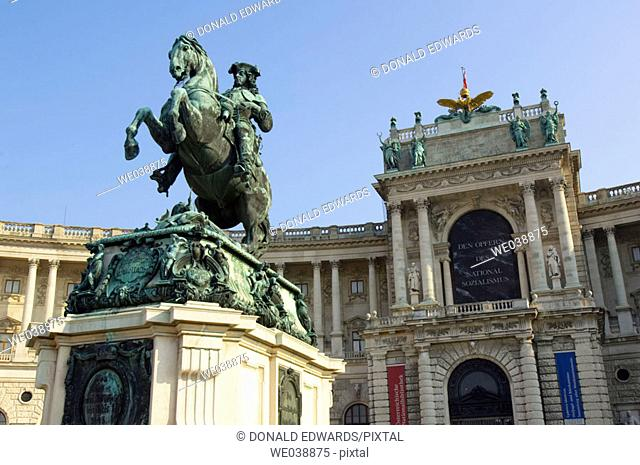 Prince Eugene Statue in Front of National Library at the Hofburg Complex, Vienna, Austria