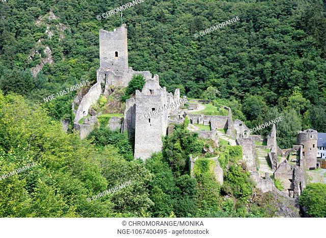 Ruins of the castle Niederburg, Manderscheid, Eifel, district Bernkastel Wittlich, Rhineland Palatinate, Germany, Europe