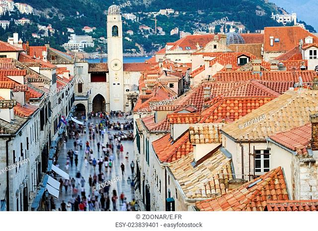 The Stradun in Dubrovnik with tourist