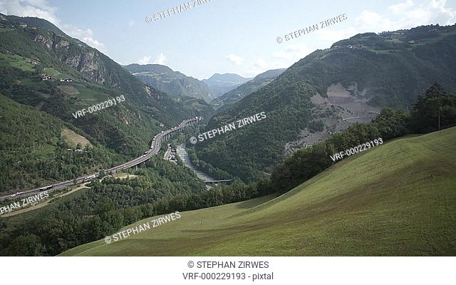 WS POV View of Brenner Autobahn with mountains in Italy
