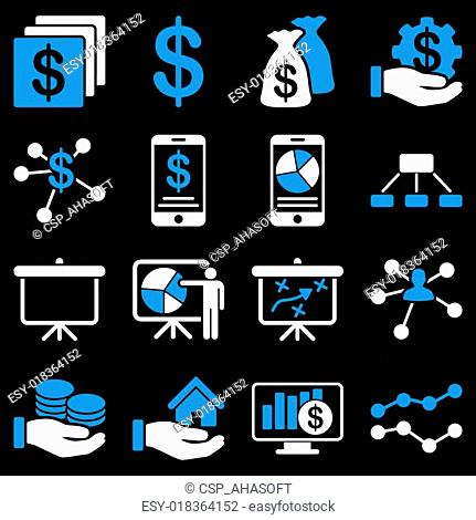Finance and business charts icons