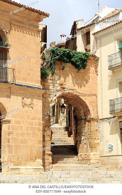 Arch in the main square, Alcaraz village Albacete province Castile La Mancha Spain