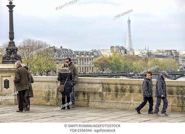 Pont Neuf across River Seine with Eiffel Tower, Paris, France