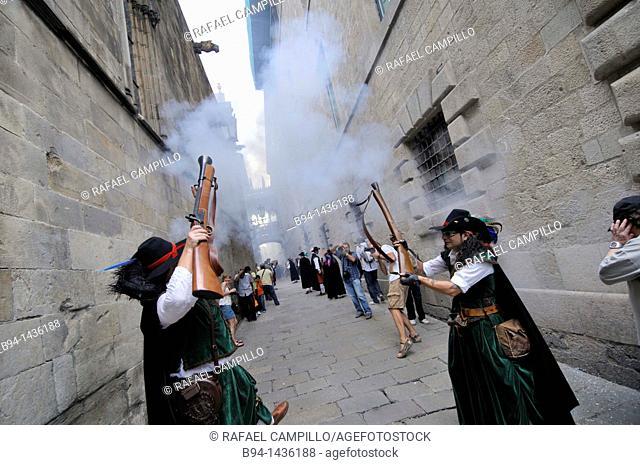 La Merce festival, Bisbe Irurita street, Gothic quarter, Barcelona, Catalonia, Spain