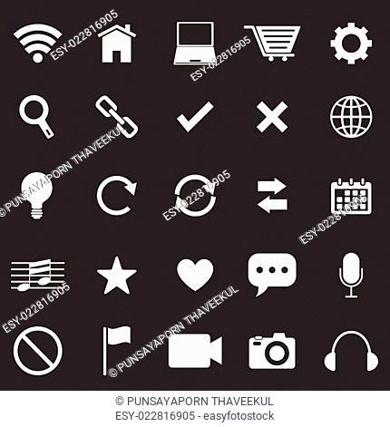 Web icons on black background
