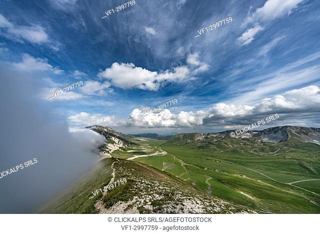 Centenario pathway photographed by Mount Aquila, Campo Imperatore, L'Aquila province, Abruzzo, Italy, Europe