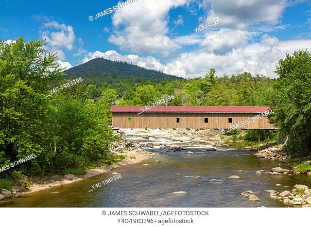 Jay Covered Wooden Bridge built in 1857 restored in 2007 over the East Branch of the Ausable River in Adirondack Mountains in Jay New York