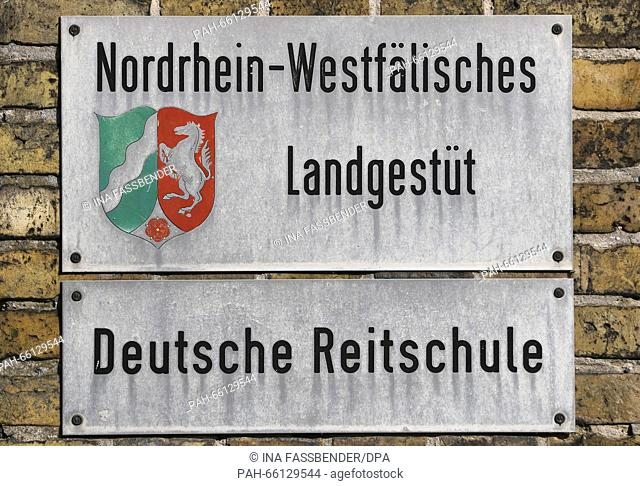 A sign written with 'North Rhine-Westphalian State Stud - German Riding School' can be seen in Warendorf, Germany, 24 February 2016