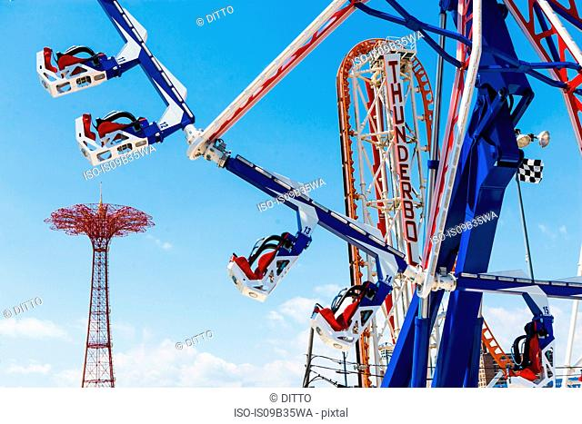 Low angle view of amusement park ride at Coney Island amusement park, New York, USA