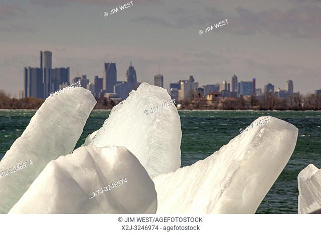 Detroit, Michigan - Ice blocks on the shore of the Detroit River, upriver from downtown Detroit