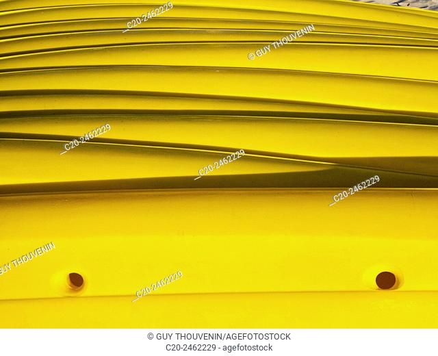 Pile of yellow canoes kayaks, Harbor, France, Concept