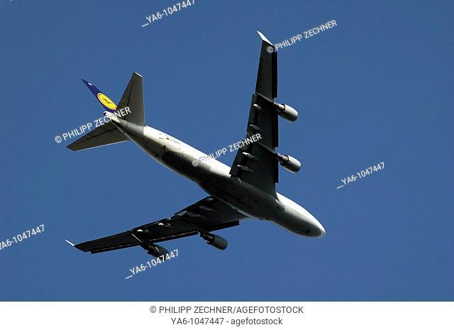 Lufthansa airplane approaching Frankfurt airport