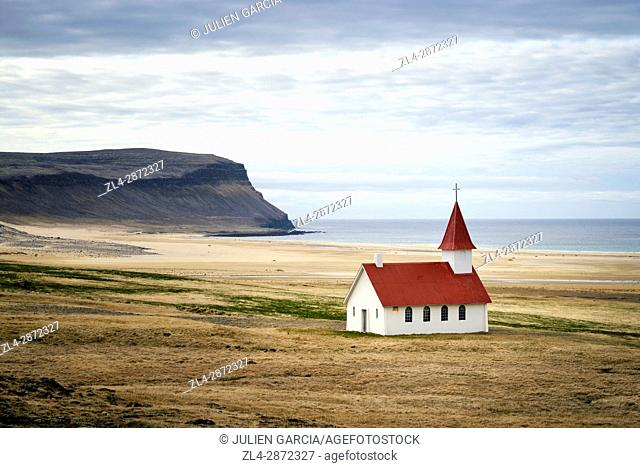 Iceland, Westfjords, Vestfirdir region, church of Breidavik