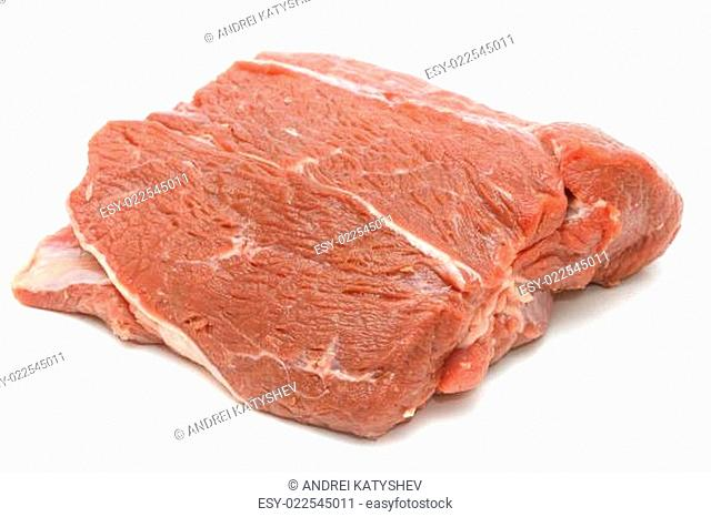 Piece of raw beef on white