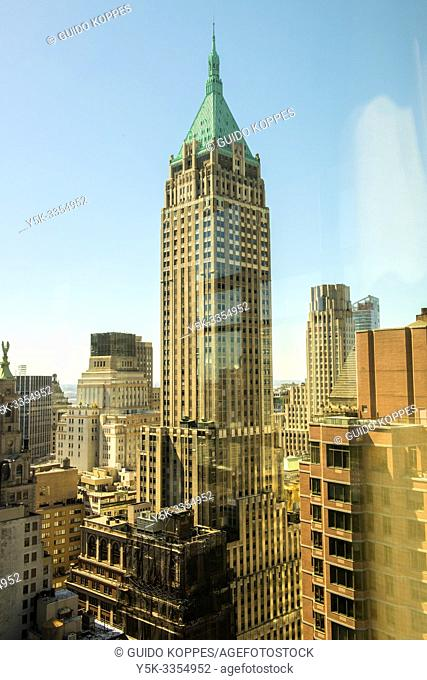 New York City, USA. View on Manhattan's Trum Building, formerly Bank of Manhattan Building, one of the famous and iconic skyscrapers down town