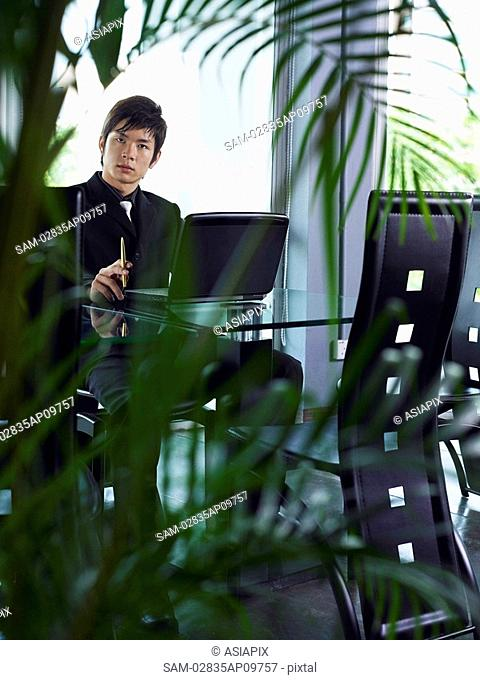 businessman sitting at table, plants in foreground
