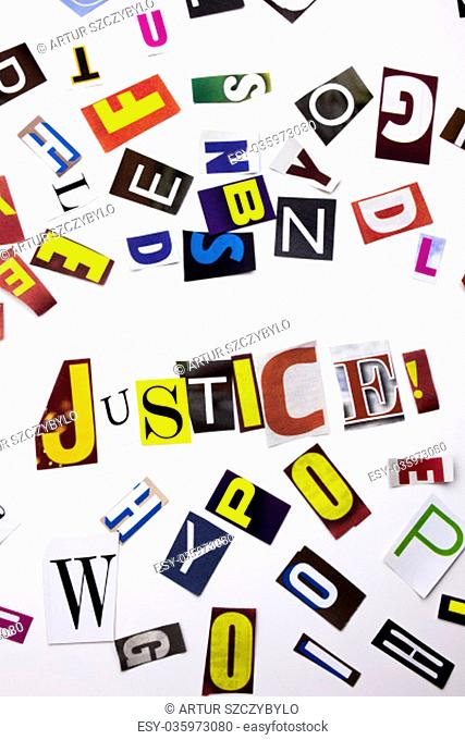 A word writing text showing concept of Justice made of different magazine newspaper letter for Business case on the white background with space