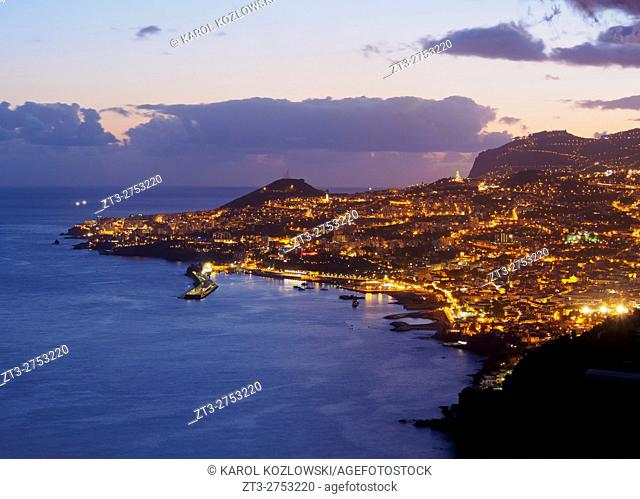 Portugal, Madeira, Funchal, Twilight view of Funchal. .