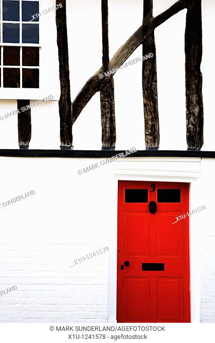 Red Door in Half Timbered House Nayland Suffolk England