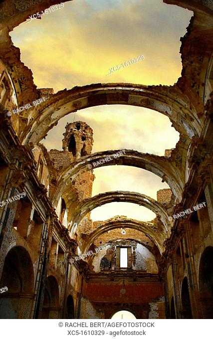 Church and convent of San Agustin, Belchite Old Town Ruins of the Spanish Civil War 1936-1939 Zaragoza, Aragon, Spain