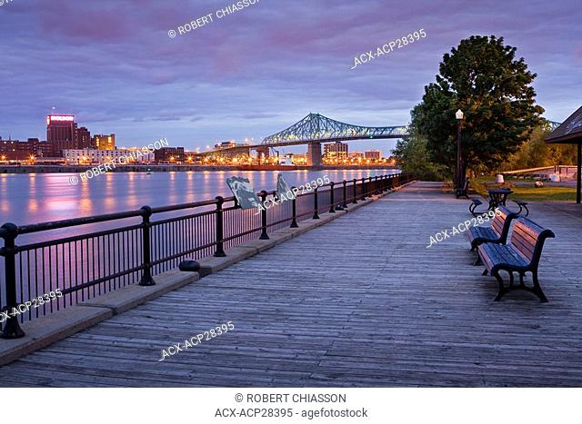 Island of Montreal and Jacques-Cartier Bridge as seen from St. Helen's Island at dawn, Quebec, Canada