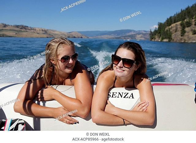Boating, Young Women, Kalamlka Lake, Vernon British Columbia, Sun Glasses