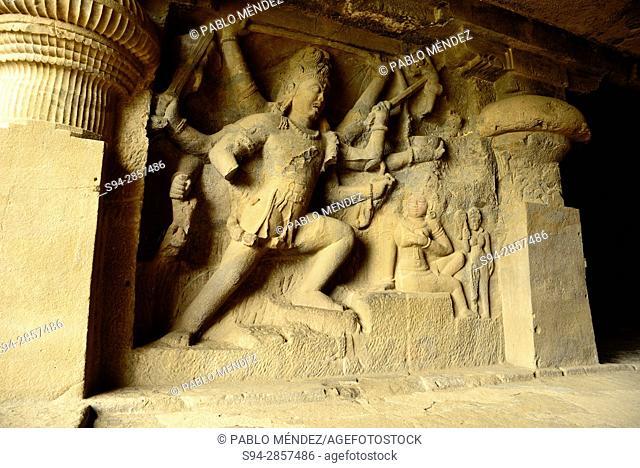 Cave 29. Dumar Lena. Temple in a cave of Jain group, Ellorca caves, Aurangabad, Maharastra, India