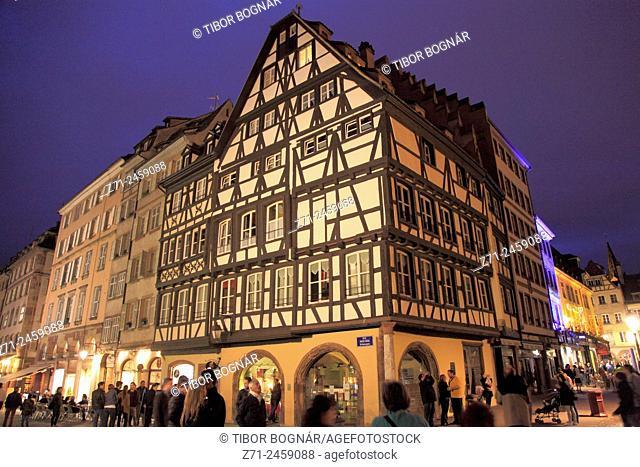 France, Alsace, Strasbourg, street scene at night