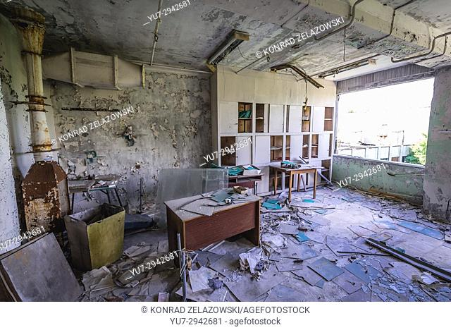 Office in abandoned Jupiter Factory in Pripyat ghost town of Chernobyl Nuclear Power Plant Zone of Alienation in Ukraine