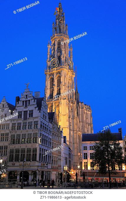 Belgium, Antwerp, Grote Markt, Cathedral,