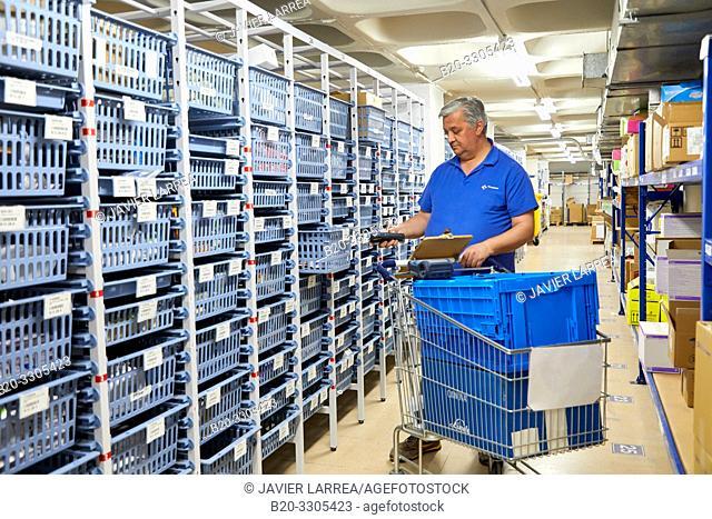 Code bar reader, Warehouse, Storage, Hospital Donostia, San Sebastian, Gipuzkoa, Basque Country, Spain