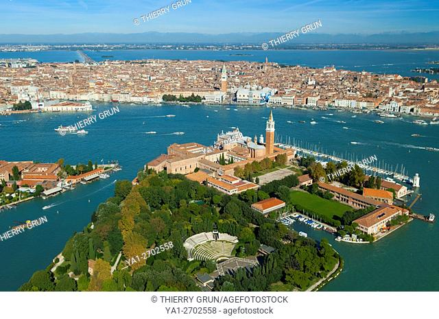 Italy, Venice lagoon, San Giorgio Maggiore and back Venice city (aerial view)