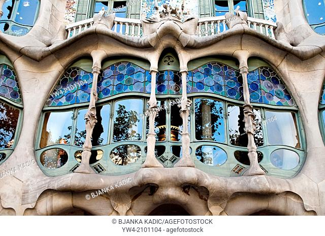 Casa Batllo, Barcelona, Central window, Catalonia, Spain