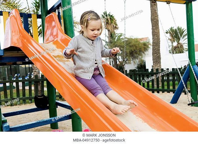 Girls, 3 years old, playground, sliding, slipping