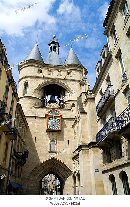 La Grosse Cloche, an old belfry and one of two 15th century remaining gates along the medieval walls of Bordeaux, France