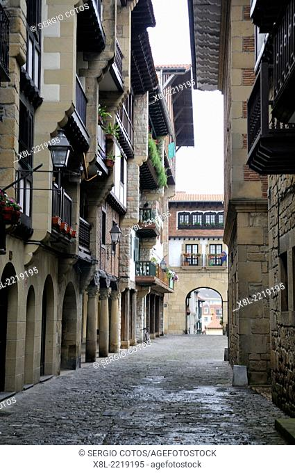 Street in the old part of Fuenterrabia, Basque Country, Guipuzcoa