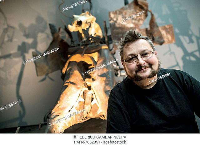 Jean-Marc Gaillard, restorer at the Tinguely Museum and former assistant of the artist, poses in front of the installation 'Mengele dance of death' by Swiss...