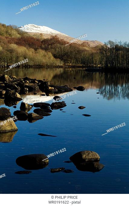 Loch Awe with snow capped Ben Cruachan in background Argyll, Scotland