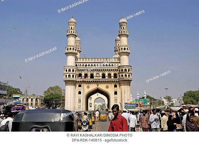 A busy marketplace around the famous Charminar ; Hyderabad ; Andhra Pradesh ; India
