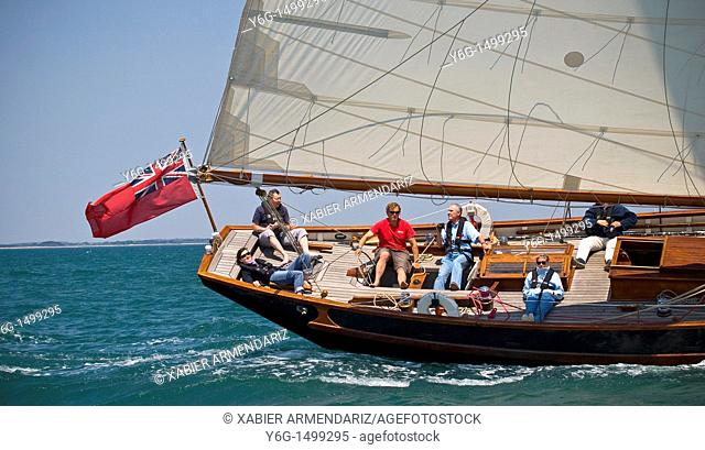 English old yatch sailing, Bay of Morbihan, Brittany, France, Europe