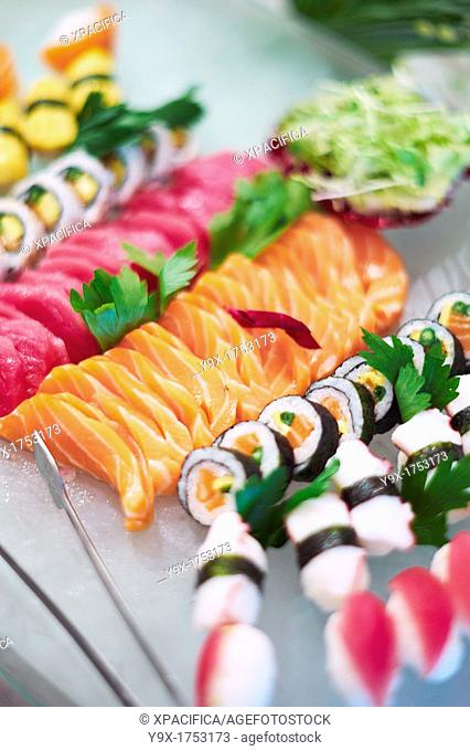 Sushi displayed in a buffet at the Metropole hotel in Vietnam