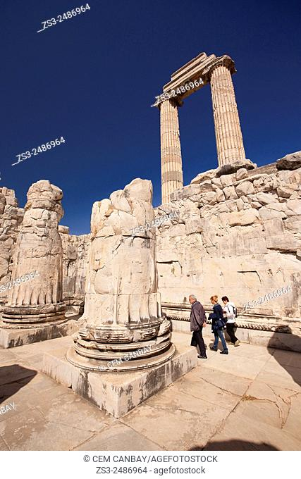 Tourists at the Temple of Apollo at the Archeological area of Didim, Didyma, Aydın Province, Turkey, Europe